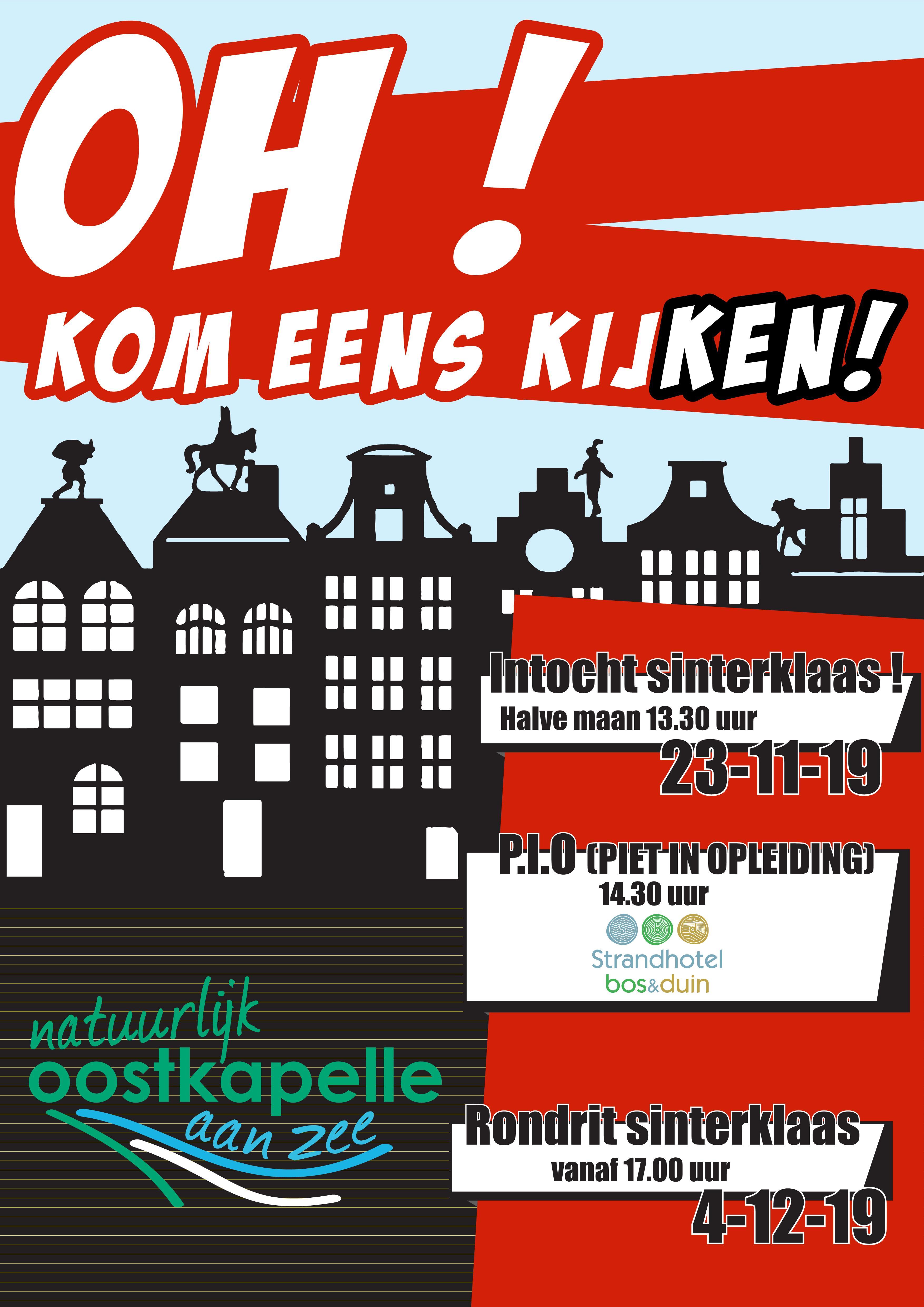 Poster Intocht Sint 2019 Ondernemersvereniging Natuurlijk Oostkapelle